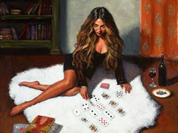 Solitaire by Fabian Perez - Embellished Canvas on Board sized 18x14 inches. Available from Whitewall Galleries